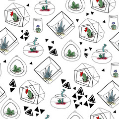 Hand drawn succulents in aquariums and abstract triangles. Vector seamless pattern