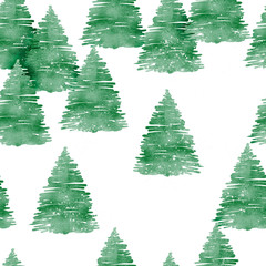 Fir forest seamless pattern, watercolor