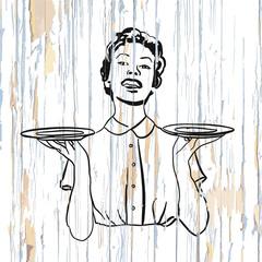 Vintage waitress icon on wooden background