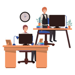 men working in the office avatar character