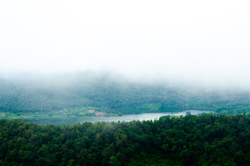 landscape view of mountain forest with fog in northern, Thailand