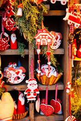 Christmas market kiosk details with santa claus figurine, retro toned