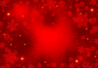 Red background with snowflakes, glitter and lights for christmas, winter holidays, new year.
