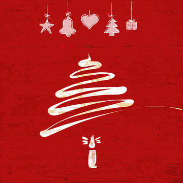 Christmas tree drawing on wooden background