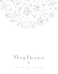 Merry Christmas and Happy New Year. Simple Christmas Vector Card. Light Gray Delicate Design on a White Background. Semicircle Frame Made of Snowflakes.