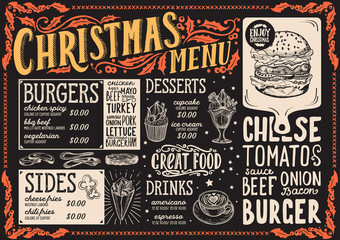Christmas menu for burger restaurant, food template.