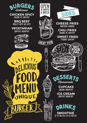 Burger food menu template for restaurant with chefs hat lettering.