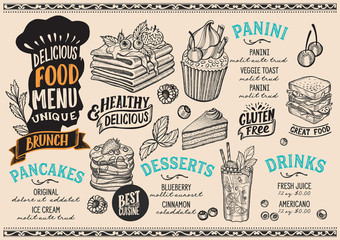 Brunch food menu template for restaurant with chefs hat lettering.