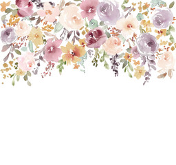 Hand Painted, Modern Watercolor Flower Background