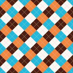 Seamless argyle plaid blue pattern. Diamond check
