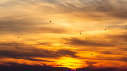 background of a cloudy sky, beautiful nature paintings, sunset in the sky