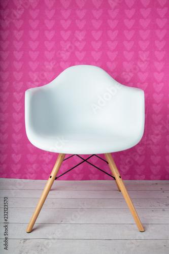 Teen Tween Empty White Modern Chair On Hot Pink Fuschia Heart