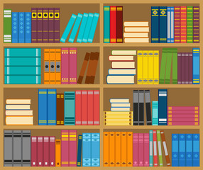 Shelves with books, vector illustration