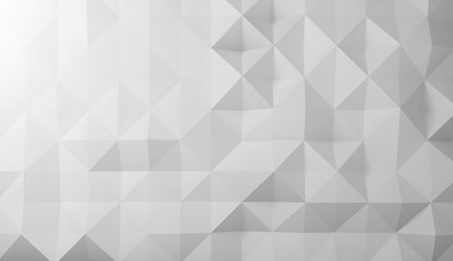 Abstract digital polygonal pattern, white 3d
