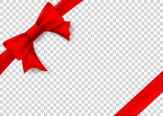Red ribbon with bow for gift box. Template isolated on a transparent background.
