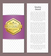 Quality Award Golden Label Vector Illustration
