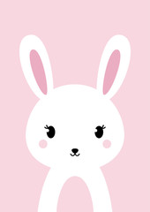 White bunny rabbit on pink background. Flat design. Perfect for wall art or other needs. Vector illustration.