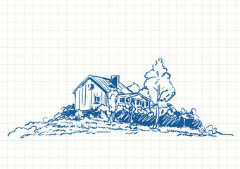 Countryside house surrounded by trees, Blue pen sketch on square grid notebook page, Hand drawn vector illustration