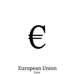 Black  Euro currency symbol isolated on white background