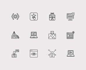 Engine icons set. Customer review and engine icons with social share, website optimization and digital marketing. Set of person for web app logo UI design.