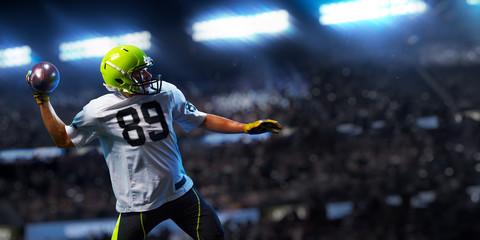 American football sportsman player on stadium in action. Sport advertising