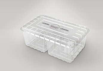 Clear Clamshell Mockup with Two Compartments