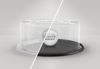 Clear Round Cake Container Mockup