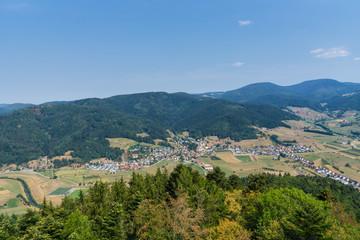 Germany, Above black forest village Fischerbach in kinzig valley