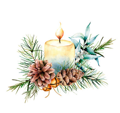 Watercolor Christmas candle with holiday decor. Hand painted floral composition with eucalyptus leaves, bells, pine cones and berries isolated on white background. Botanical illustration for design