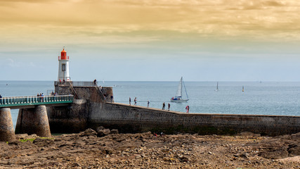 view of the jetty and the lighthouse of Les Sables d'Olonne, France