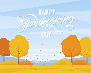 Poster Groene koraal Autumn landscape with trees, hand lettering of Happy Thanksgiving Day and fall leaves.