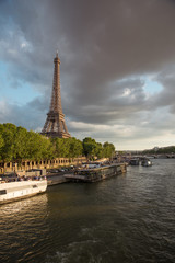 Seine river at sunset Eiffel tower view