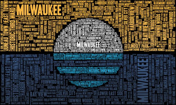 A word cloud with the neighborhoods of Milwaukee, Wisconsin, in the shape of the People's Flag of the city.
