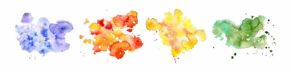 Photo sur Plexiglas Forme Abstract watercolor shapes on white background. Color splashing hand drawn vector painting
