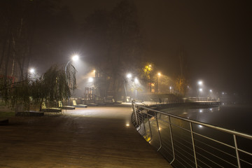 Night fog on Pekhork River Embankment