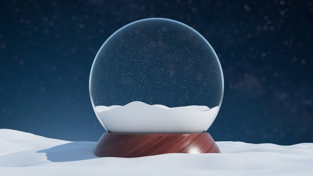 Snow globe with a wooden base in a winter Christmas style landscape. 3d rendering