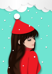 Winter season background with beautiful lady feeling relax in snow background and paper art design vector and illustration