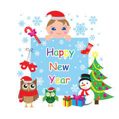 Happy new year greeting card, template, banner with owls, baby, snowman, christmas tree and snowflakes. Vector illustration
