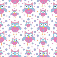 Cute owls seamless pattern. Funny childish background. Vector illustration