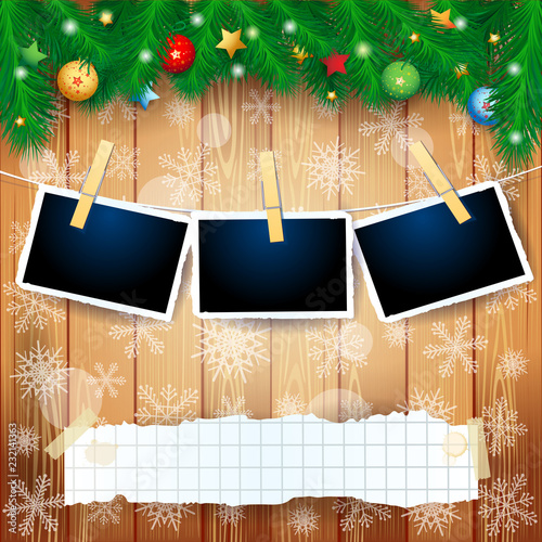 Christmas background with fir, copy space and photo frames