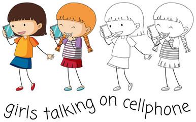 Doodle girl talking on cellphone