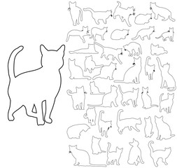 cat outlines set