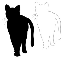 silhouette cat, outline