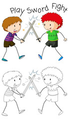 Doodle boys playing sword fight
