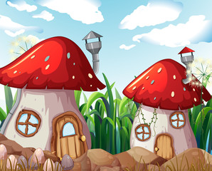 Enchanted mushroom house in nature