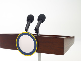 Close up of podium with two microphones