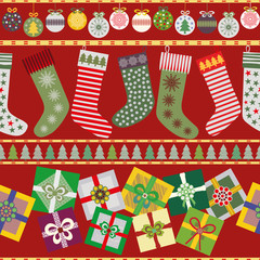 Cheerful Christmas Stockings and Presents