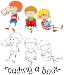 Doodle children reading a book