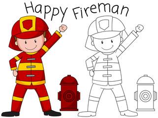 Doodle happy fireman character