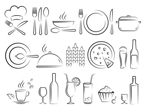 hand drawn restaurant icons set on white